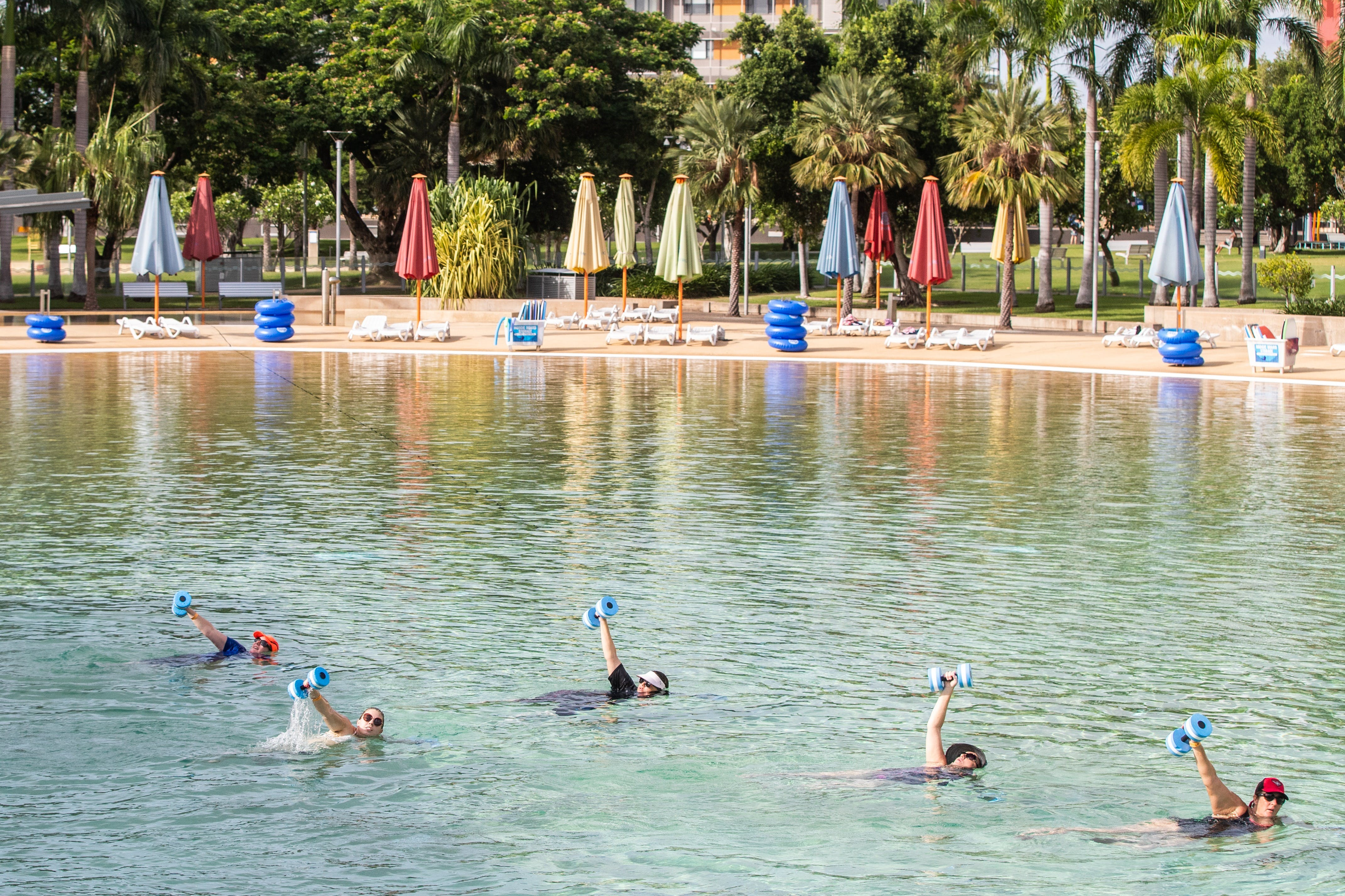 Aqua fitness in the Wave Lagoon - Palm Beach Accommodation