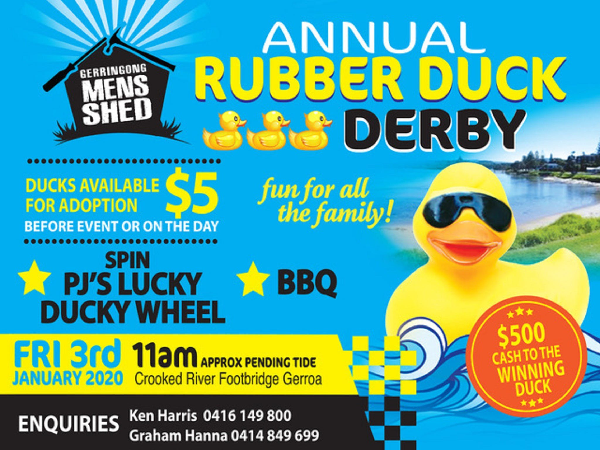 Gerringong Mens Shed Annual Duck Derby - Palm Beach Accommodation